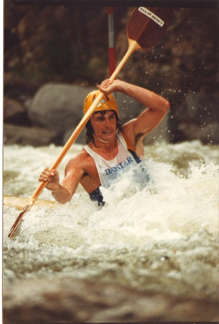 Ian in whitewater slalom race, 1980 (NSW, Australia)